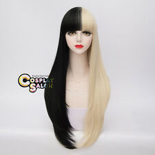 Punk Lolita 70CM Black Mix Blonde Long Wavy Ombre Party Cosplay Neat Bang Wig