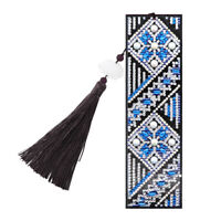 5D DIY Special Shape Diamond Painting Leather Bookmark Tassels Book Marks R1BO