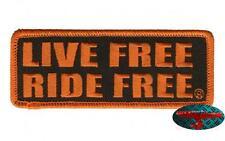 LIVE FREE RIDE FREE Patch Aufnäher Aufbügler Biker Motorrad Rocker Harley orange