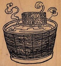 """wooden hot tub rubber baby  Wood Mounted Rubber Stamp 3 1/2x 3""""  Free Shipping"""