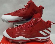 New Mens 14 Adidas Red White Litestrike Baseball Metal Cleats $110 Q16577