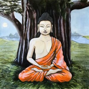 BUDDHA SHAKYAMUNI | oil on canvas, buddha tree, Bodhi Tree, bo tree, Siddhartha