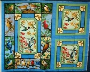 Hummingbirds Robins Blue-Jays Quilt Top & 2 Pillow Squares Fabric Panel NEW