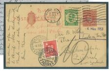DBK321 1953GB London Post.Stat.and Cut-out Post.Dues/SWITZERLAND Zurich