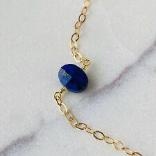 Lapis Lazuli Natural Gemstone 14k Gold Chain Handmade Fashion Women Jewelry