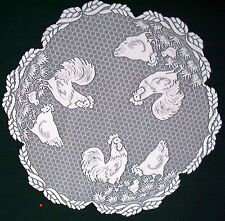 Rooster 30 Round White Table Topper Heritage Lace