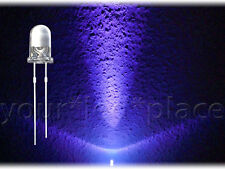 20 x 5mm LED TONDO-UV ULTRAVIOLETTI - 30 ° pari circa testa SUPER CHIARO PURPLE