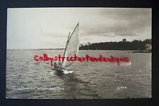 FLYING DUTCHMAN Sail Boat on White Lake, Whitehall, Michigan RPPC postcard 1920