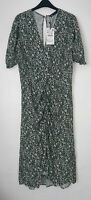 ZARA GREEN FLORAL PRINT GATHERED FRONT RUFFLE SLEEVES MIDI DRESS SIZE XL BNWT