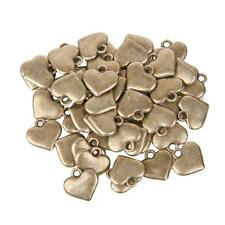 50pcs Bronze Heart Charms for Jewellery Making Findings Crafts Embellishment