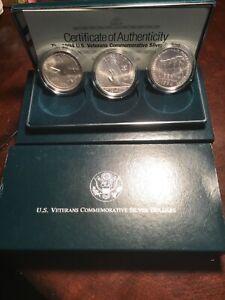 1994 Proof Silver Veterans Commemorative SILVER DOLLAR  Set (3 Coin) Box & COA