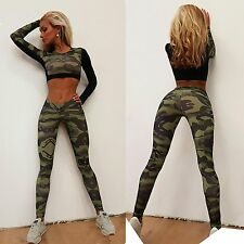 Womens camouflage Workout Pants Tops Sportwear Gym Running Fitness Leggings