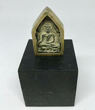 Miniature Dollhouse Carved Stone Buddha In Case - Asian Travel Shrine Antique
