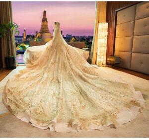 Gold Luxury All Beaded Cathedral Wedding Bridal Veil Church Bride Hair Accessory