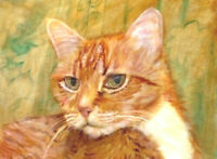 BCB Orange Tabby Cat Turns His Head  Print of Painting ACEO 2.5 x 3.5 Inches