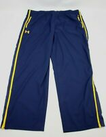 Under Armour Mens Loose Fit Athletic Pants Size 3XL XXXL Navy Blue w Yellow