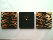 SET OF 3 BLACK, ORANGE, CREAM TIGER ANIMAL PRINT (FUR) WALLHANGINGS & CLOCK 30cm