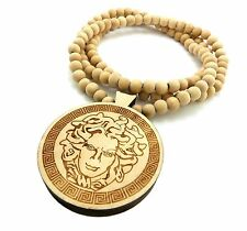 "NEW GOOD QUALITY OF MEDUSA FACE PENDANT HIP HOP w/8mm 36"" WOOD NECKLACE FXJ218"