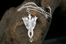 925 Sterling Silver LOTR Arwen Evenstar Crystal Pendant Necklace