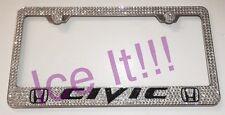 Honda Civic Stainless Steel license plate frame W Swarovski Crystals