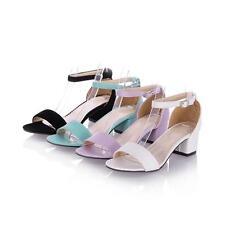 Womens Lady Pumps Peep Toe Ankle Strap Leisure Buckle Sandal High Heels Pumps Sz