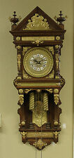 Rare Original 1904 ANSONIA Antique Hanging Oak Case Double Weight Wall Clock
