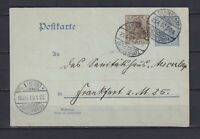 GERMANY 1907-08, Card used in 1907 with Army training Camp cancellation