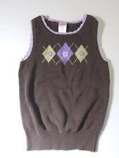 Gymboree Girls Small Sweater Vest Brown Lavender Diamond Pattern