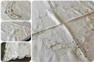 Vintage Hand Embroidered Tablecloth -  Delicate Art Deco Design Scallop Cutwork