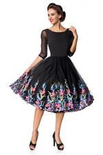 elegantes Kleid im Rockabilly Stil Vintage Blumenkleid schwarz 50er Jahre Gr. M