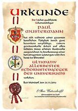 Urkunde SCHORNSTEINFEGER KAMINKEHRER DIN A4  HW Diplom  Arbeits-Jubiläum