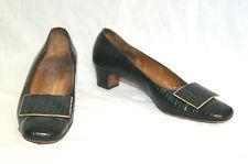Vintage Vtg Hill & Dale Ladies Black Faux Alligator Heels Pumps Shoes - 6 1/2 A