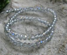 135 Glasschliffperlen Rondelle 3x2mm, grau irisierend, AB Schimmer, Glasperlen