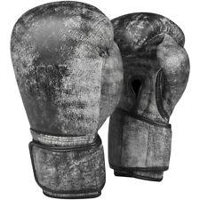 Title Boxing envejecido Gloria Guantes de entrenamiento de gancho y lazo de cuero-Negro