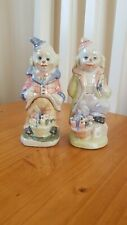 Brand new two porcelain clowns hand painted vintage rare 6""