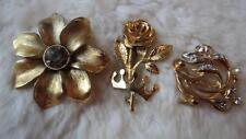 Pearl Diamante Flower Brooches Movitex Vintage 3 x Goldtone Faux