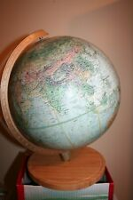 Vintage Replogle 1971 Land Sea Raised Relief 12 Inch Globe USSR Ceylon Rhodesia