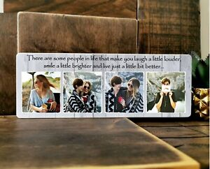 11x4''Personalised Wooden Family Photo & Text Block Plaque Best Friend Baby