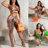 US Women 2 Piece Outfits Short Sleeve Crop Top Pants Set Casual Jumpsuit Rompers