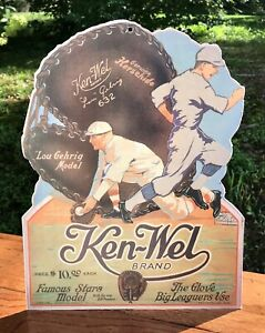 KEN-WEL Brand, Lou Gehrig Model, Baseball Glove Advertising Poster