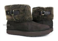 UGG Classic Berge Mini Dark Roast Suede Fur Boots Womens Size 9 *NIB*