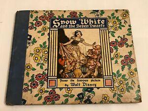 VINTAGE 1938 SNOW WHITE AND THE SEVEN DWARFS WALT DISNEY GROSSET DUNLAP BOOK
