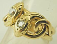 Francés antiguo victoriano Diamante Anillo De Serpiente Doble de Oro 18 CT 1880s tamaño T 8.6g