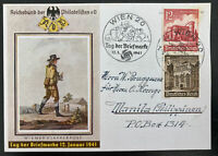 1941 Vienna Germany Postcard Cover FDC Philatelic Exhibition To Philippines