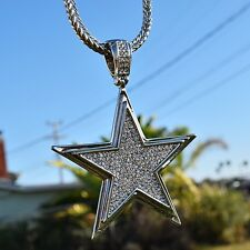 Big Star Pendant Iced-Out Micropave Silver Tone Bling Franco Necklace Mens Chain