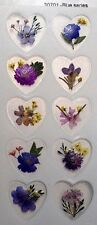 Blue Series Real Pressed Flower Craft Stickers