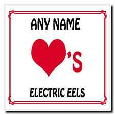 Love Heart Electric Eels Personalised Coaster