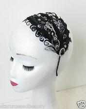 Black and White Feather Fascinator Headband Headpiece Races Vintage Ascot N61