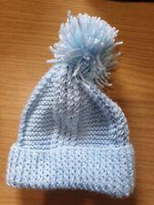Light Blue Wool Knitted Bobble Hat