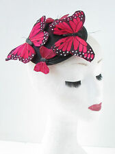 Red & Black Butterfly Fascinator Hair Clip Unique Headpiece Races Vintage 3AN